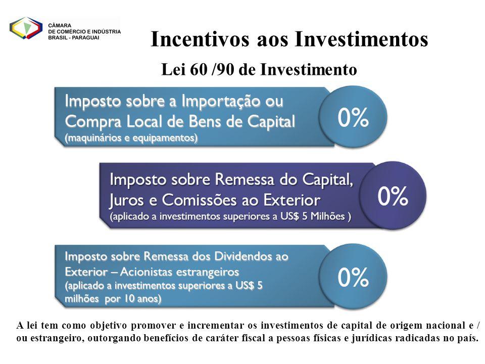 A lei tem como objetivo promover e incrementar os investimentos de capital de origem nacional e / ou estrangeiro, outorgando benefícios de caráter fis