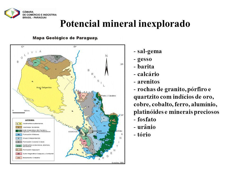 Potencial mineral inexplorado - sal-gema - gesso - barita - calcário - arenitos - rochas de granito, pórfiro e quartzito com indícios de oro, cobre, c