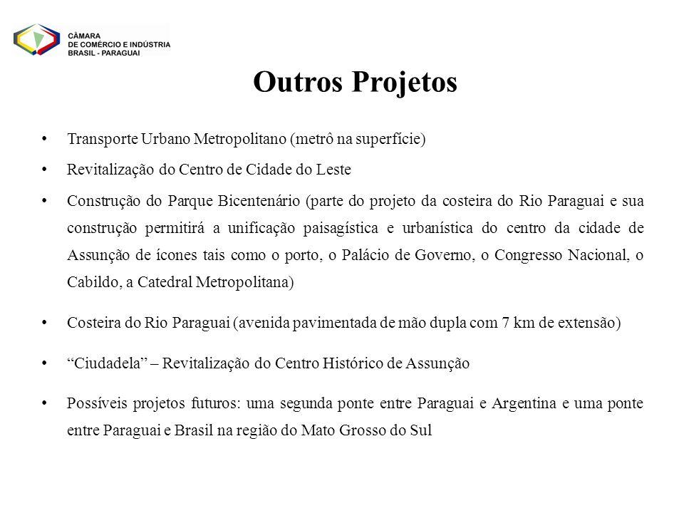 Transporte Urbano Metropolitano (metrô na superfície) Revitalização do Centro de Cidade do Leste Construção do Parque Bicentenário (parte do projeto d