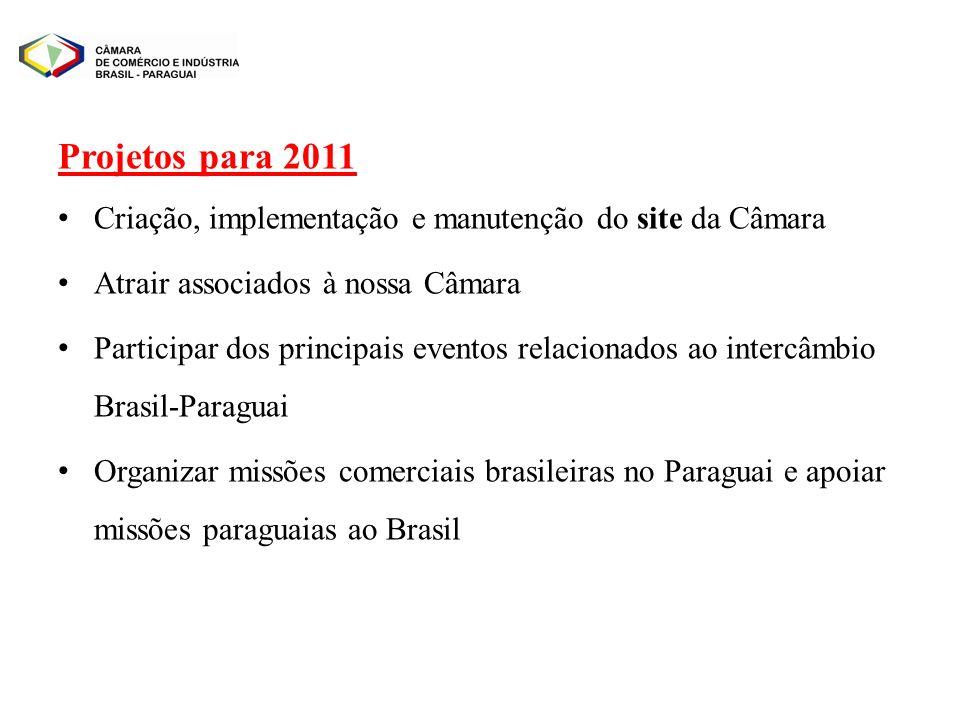 Projetos para 2011 Criação, implementação e manutenção do site da Câmara Atrair associados à nossa Câmara Participar dos principais eventos relacionad