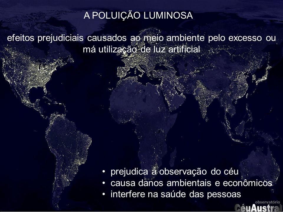 observatório prejudica a observação do céu causa danos ambientais e econômicos interfere na saúde das pessoas A POLUIÇÃO LUMINOSA efeitos prejudiciais