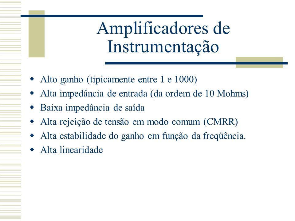 Amplificadores de Instrumentação Alto ganho (tipicamente entre 1 e 1000) Alta impedância de entrada (da ordem de 10 Mohms) Baixa impedância de saída A