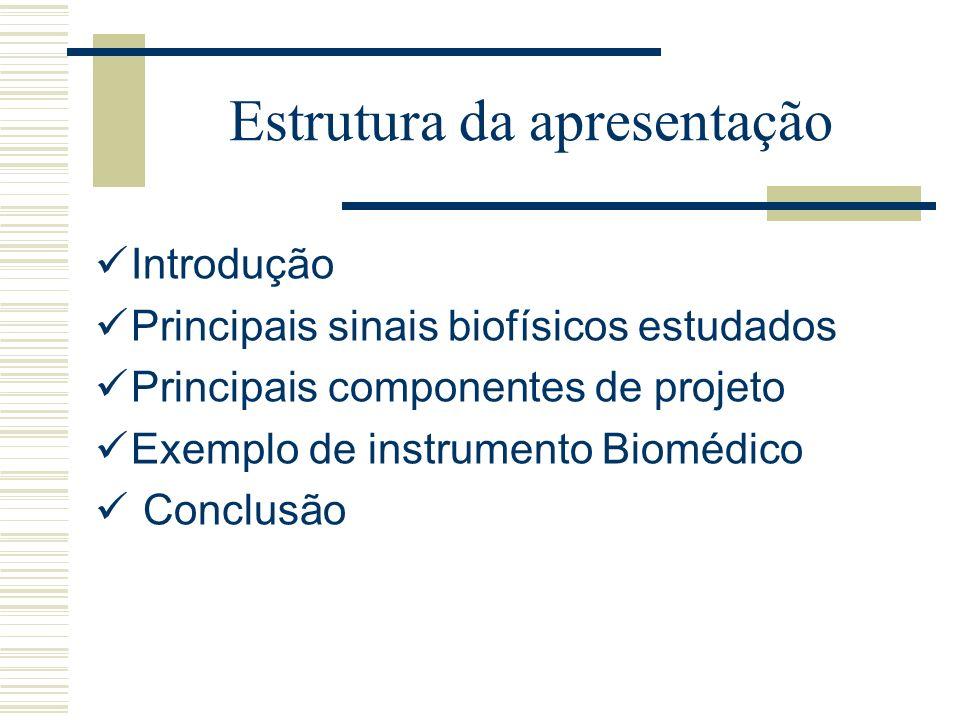 Estrutura da apresentação Introdução Principais sinais biofísicos estudados Principais componentes de projeto Exemplo de instrumento Biomédico Conclus