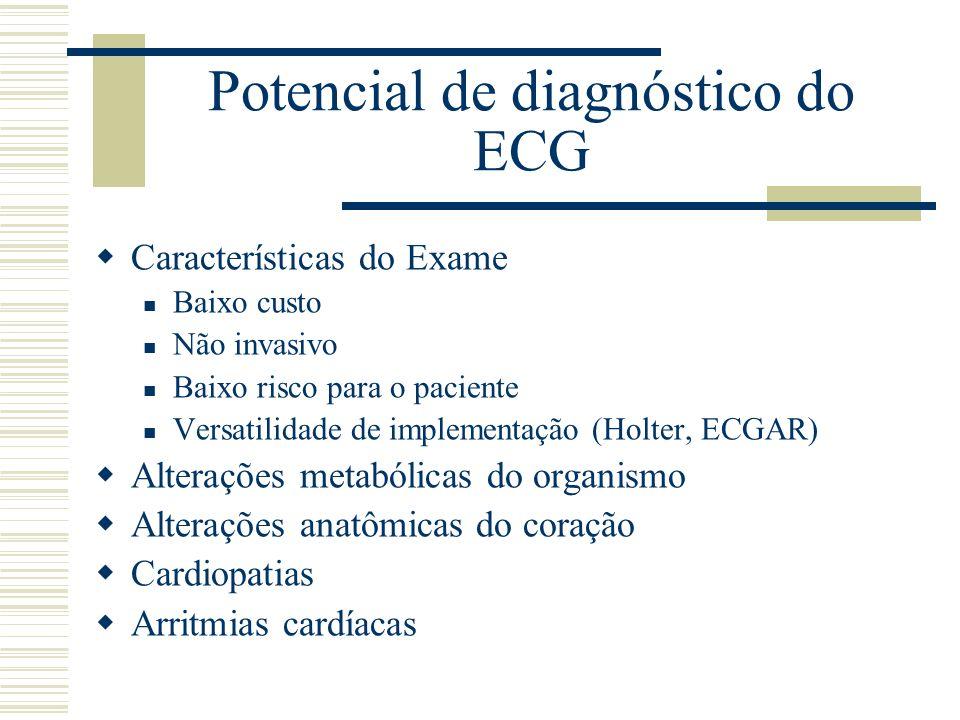 Potencial de diagnóstico do ECG Características do Exame Baixo custo Não invasivo Baixo risco para o paciente Versatilidade de implementação (Holter,