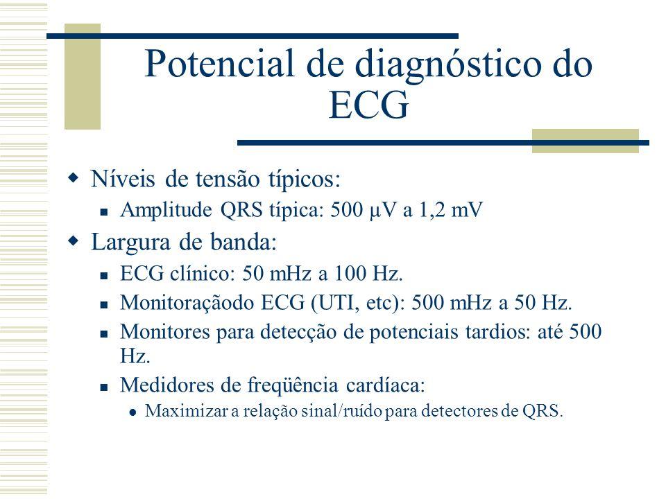 Potencial de diagnóstico do ECG Níveis de tensão típicos: Amplitude QRS típica: 500 µV a 1,2 mV Largura de banda: ECG clínico: 50 mHz a 100 Hz. Monito