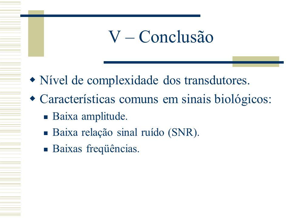 V – Conclusão Nível de complexidade dos transdutores. Características comuns em sinais biológicos: Baixa amplitude. Baixa relação sinal ruído (SNR). B