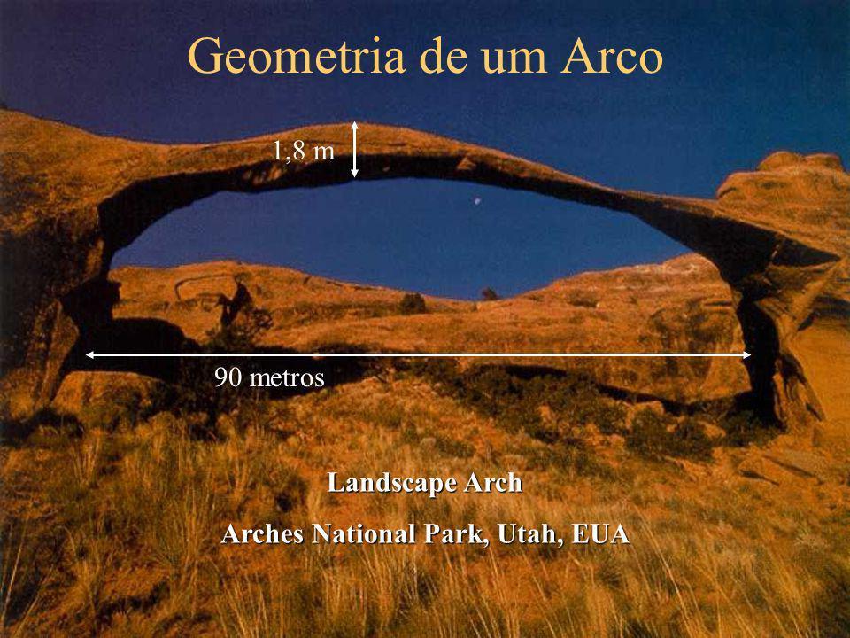 Geometria de um Arco 90 metros 1,8 m Landscape Arch Arches National Park, Utah, EUA