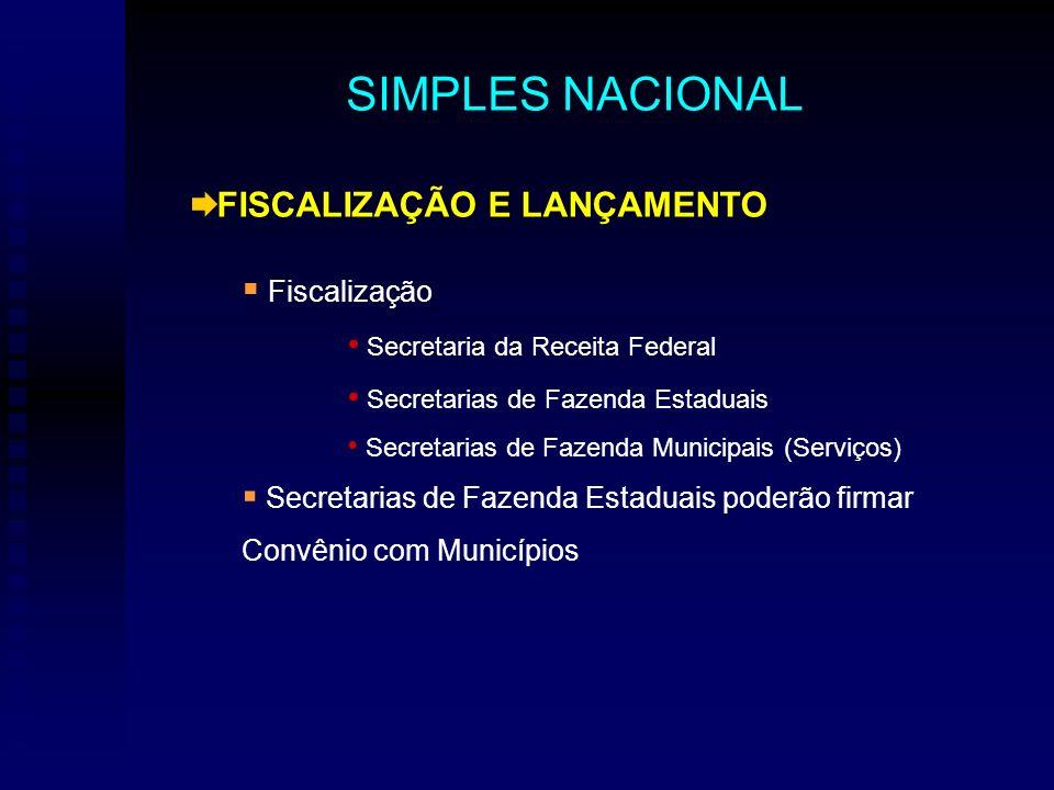 FISCALIZAÇÃO E LANÇAMENTO Fiscalização Secretaria da Receita Federal Secretarias de Fazenda Estaduais Secretarias de Fazenda Municipais (Serviços) Sec