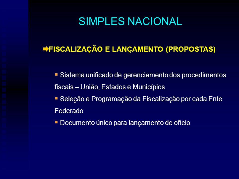 FISCALIZAÇÃO E LANÇAMENTO (PROPOSTAS) Sistema unificado de gerenciamento dos procedimentos fiscais – União, Estados e Municípios Seleção e Programação da Fiscalização por cada Ente Federado Documento único para lançamento de ofício SIMPLES NACIONAL