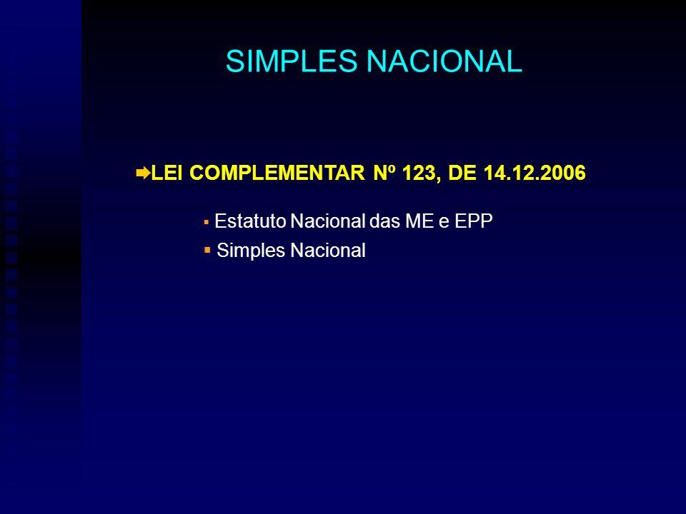 LEI COMPLEMENTAR Nº 123, DE 14.12.2006 Estatuto Nacional das ME e EPP Simples Nacional SIMPLES NACIONAL