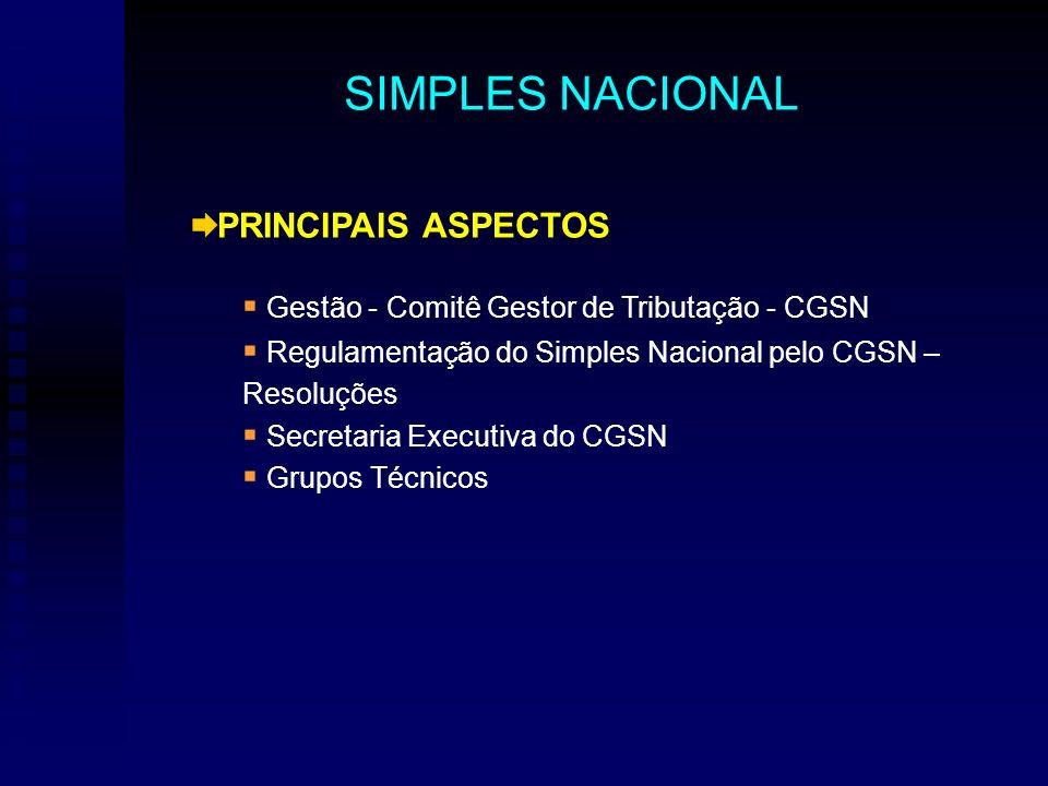 PRINCIPAIS ASPECTOS Gestão - Comitê Gestor de Tributação - CGSN Regulamentação do Simples Nacional pelo CGSN – Resoluções Secretaria Executiva do CGSN Grupos Técnicos SIMPLES NACIONAL
