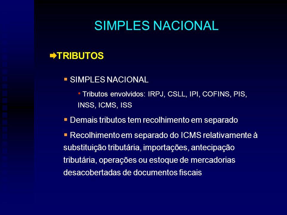TRIBUTOS SIMPLES NACIONAL Tributos envolvidos: IRPJ, CSLL, IPI, COFINS, PIS, INSS, ICMS, ISS Demais tributos tem recolhimento em separado Recolhimento