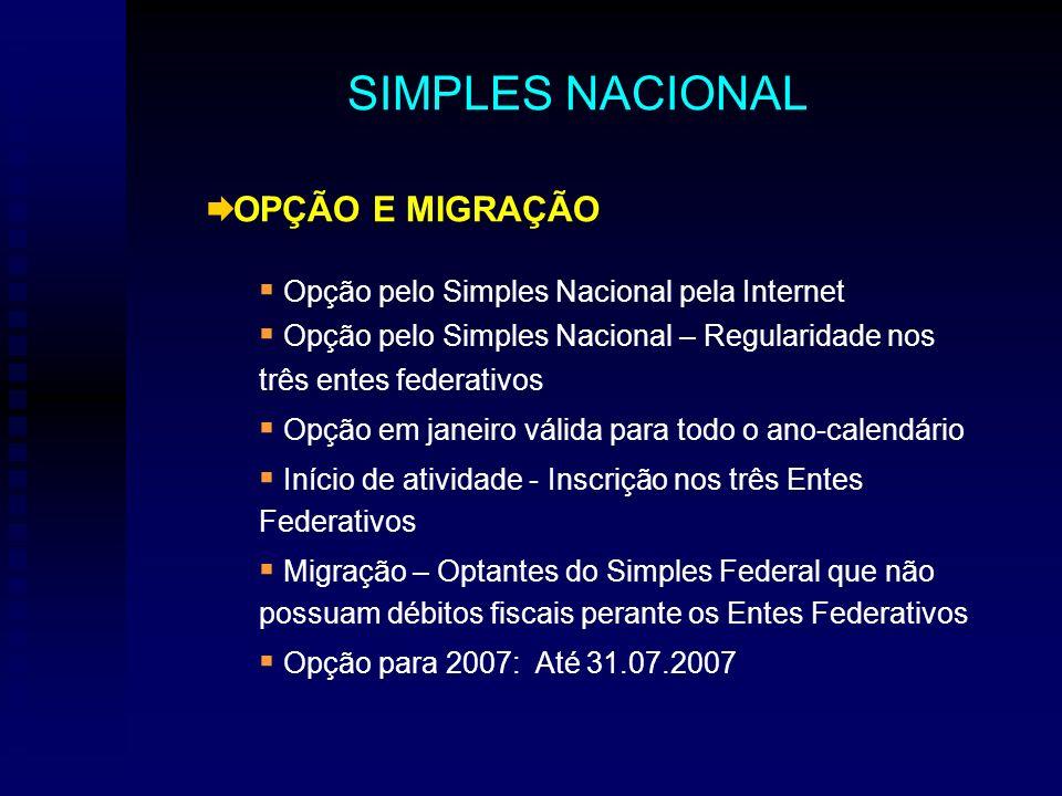 OPÇÃO E MIGRAÇÃO Opção pelo Simples Nacional pela Internet Opção pelo Simples Nacional – Regularidade nos três entes federativos Opção em janeiro váli