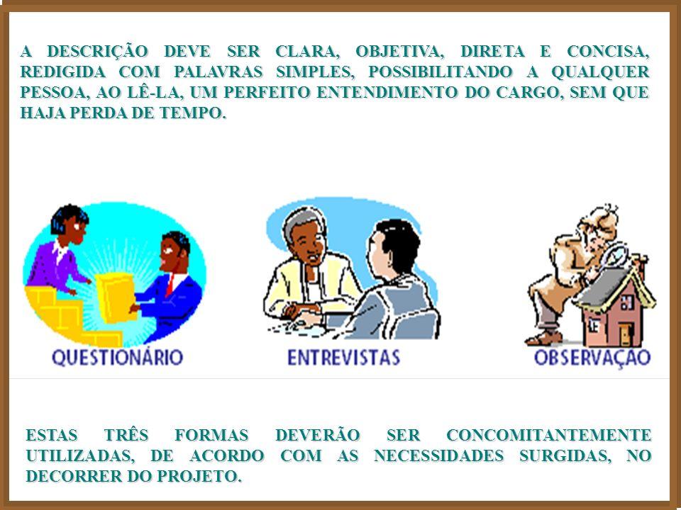 QUARTO PASSO: A DESCRIÇÃO DE CARGO É MUITO IMPORTANTE PORQUE É ELA QUE PROPICIA O REAL CONHECIMENTO DO CONTEÚDO PELO QUAL SERÁ ELABORADA A ANÁLISE, AVALIAÇÃO E A CLASSIFICAÇÃO DE CARGOS A TÉCNICA PARA SE ELABORAR UMA DESCRIÇÃO DE CARGO OBEDECE A TRÊS PERGUNTAS BÁSICAS: PARA QUE FAZ .