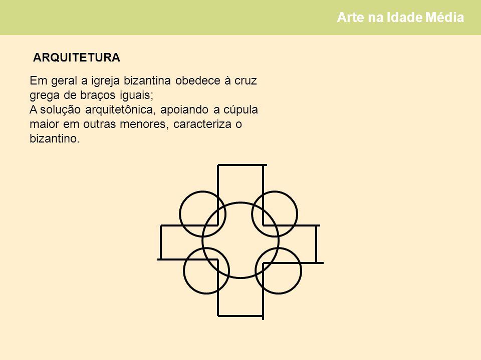 Arte na Idade Média Em geral a igreja bizantina obedece à cruz grega de braços iguais; A solução arquitetônica, apoiando a cúpula maior em outras menores, caracteriza o bizantino.