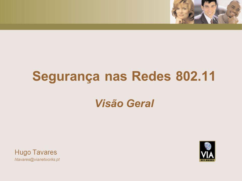Segurança nas Redes 802.11 Visão Geral Hugo Tavares htavares@vianetworks.pt