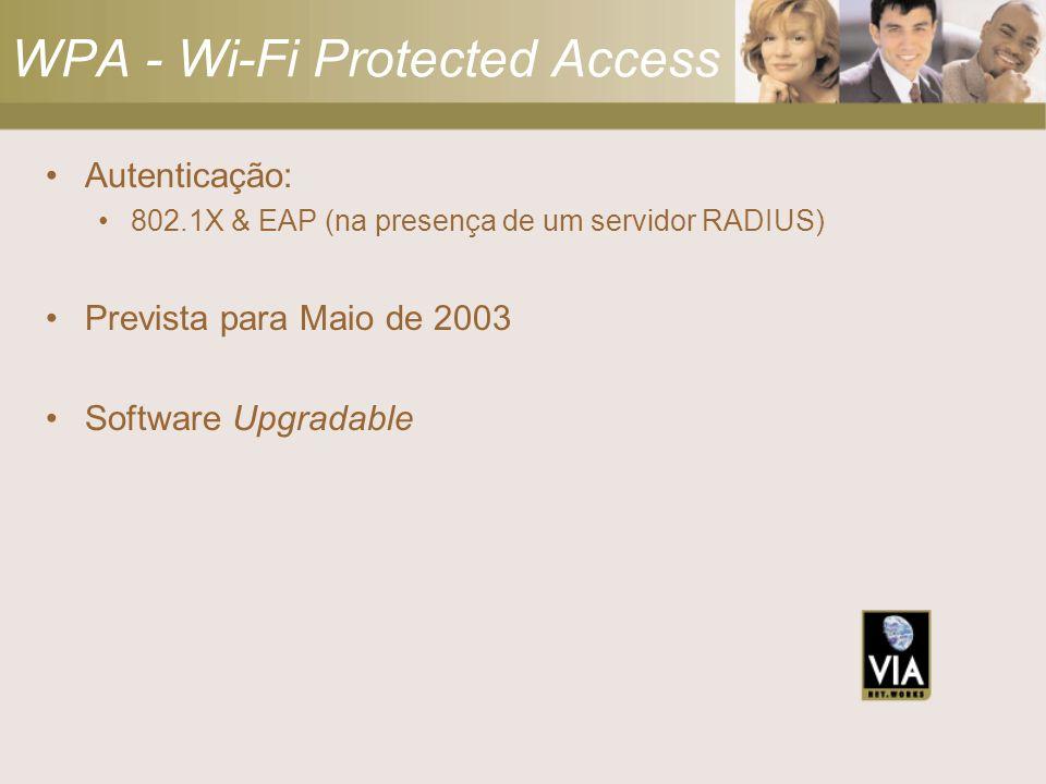 WPA - Wi-Fi Protected Access Autenticação: 802.1X & EAP (na presença de um servidor RADIUS) Prevista para Maio de 2003 Software Upgradable