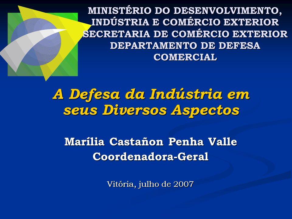 A Defesa da Indústria em seus Diversos Aspectos Marília Castañon Penha Valle Coordenadora-Geral Vitória, julho de 2007 MINISTÉRIO DO DESENVOLVIMENTO,