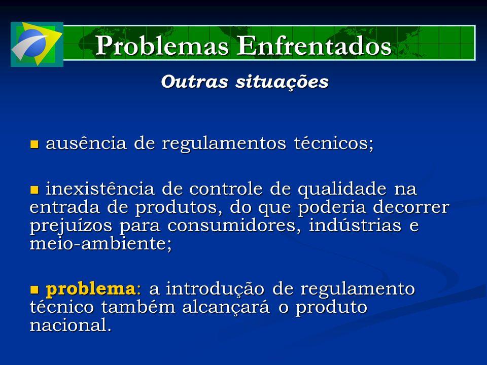 Problemas Enfrentados Outras situações ausência de regulamentos técnicos; ausência de regulamentos técnicos; inexistência de controle de qualidade na