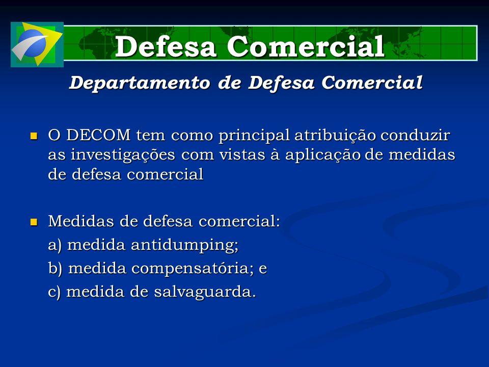 Defesa Comercial Defesa Comercial Departamento de Defesa Comercial O DECOM tem como principal atribuição conduzir as investigações com vistas à aplica