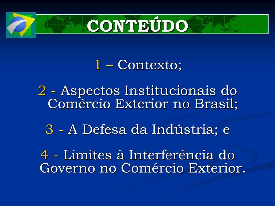 1 – Contexto; 2 - Aspectos Institucionais do Comércio Exterior no Brasil; 3 - A Defesa da Indústria; e 4 - Limites à Interferência do Governo no Comér
