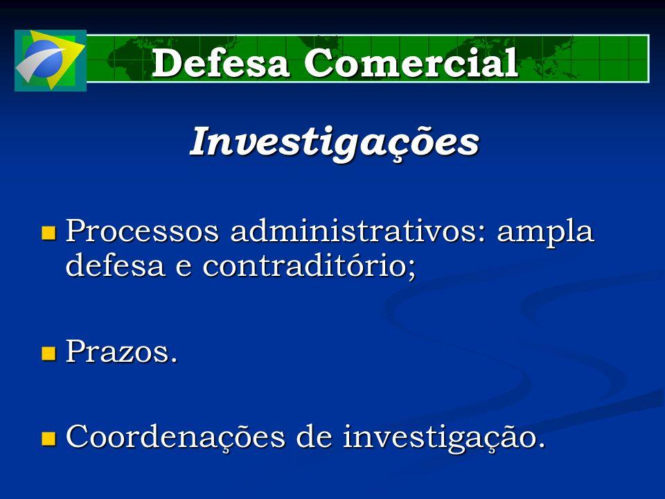 Defesa Comercial Investigações Processos administrativos: ampla defesa e contraditório; Processos administrativos: ampla defesa e contraditório; Prazo