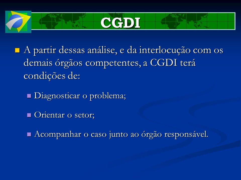 CGDI A partir dessas análise, e da interlocução com os demais órgãos competentes, a CGDI terá condições de: A partir dessas análise, e da interlocução