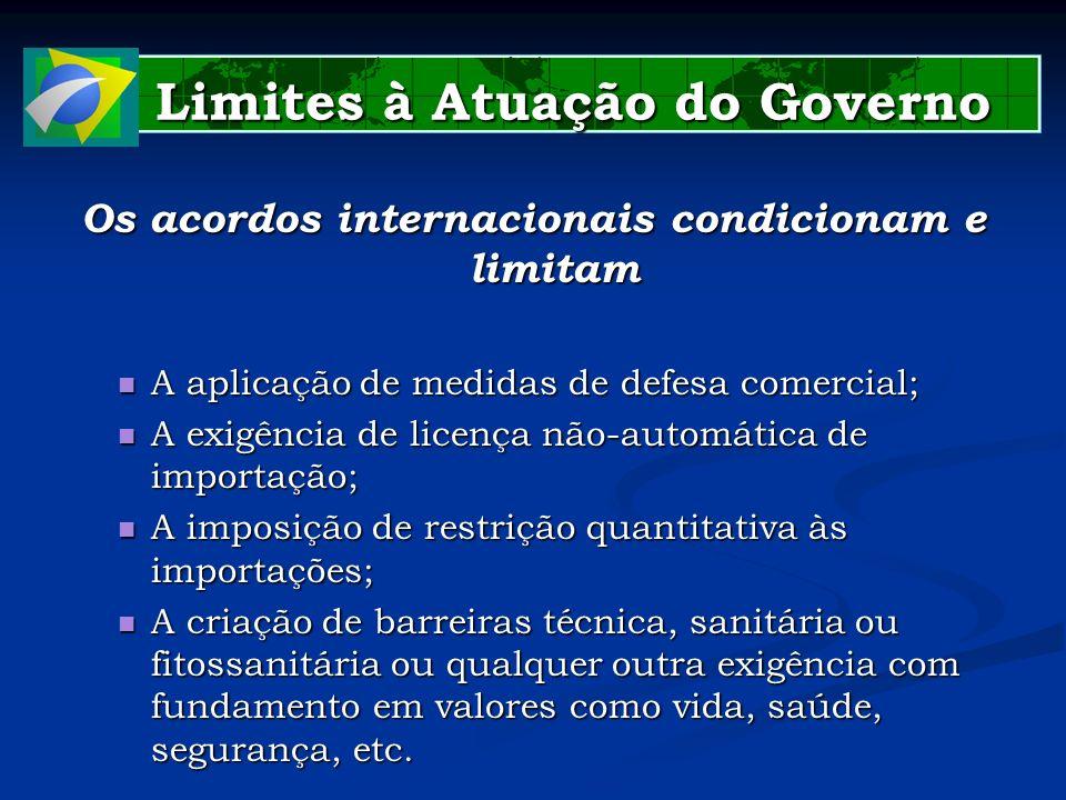 Limites à Atuação do Governo Limites à Atuação do Governo Os acordos internacionais condicionam e limitam A aplicação de medidas de defesa comercial;