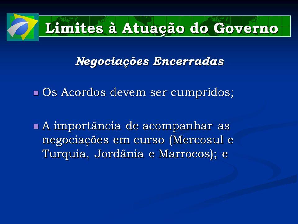 Limites à Atuação do Governo Limites à Atuação do Governo Negociações Encerradas Os Acordos devem ser cumpridos; Os Acordos devem ser cumpridos; A imp