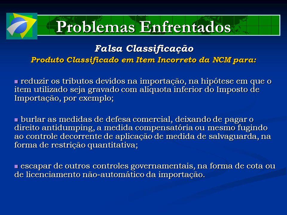 Problemas Enfrentados Falsa Classificação Produto Classificado em Item Incorreto da NCM para: reduzir os tributos devidos na importação, na hipótese e