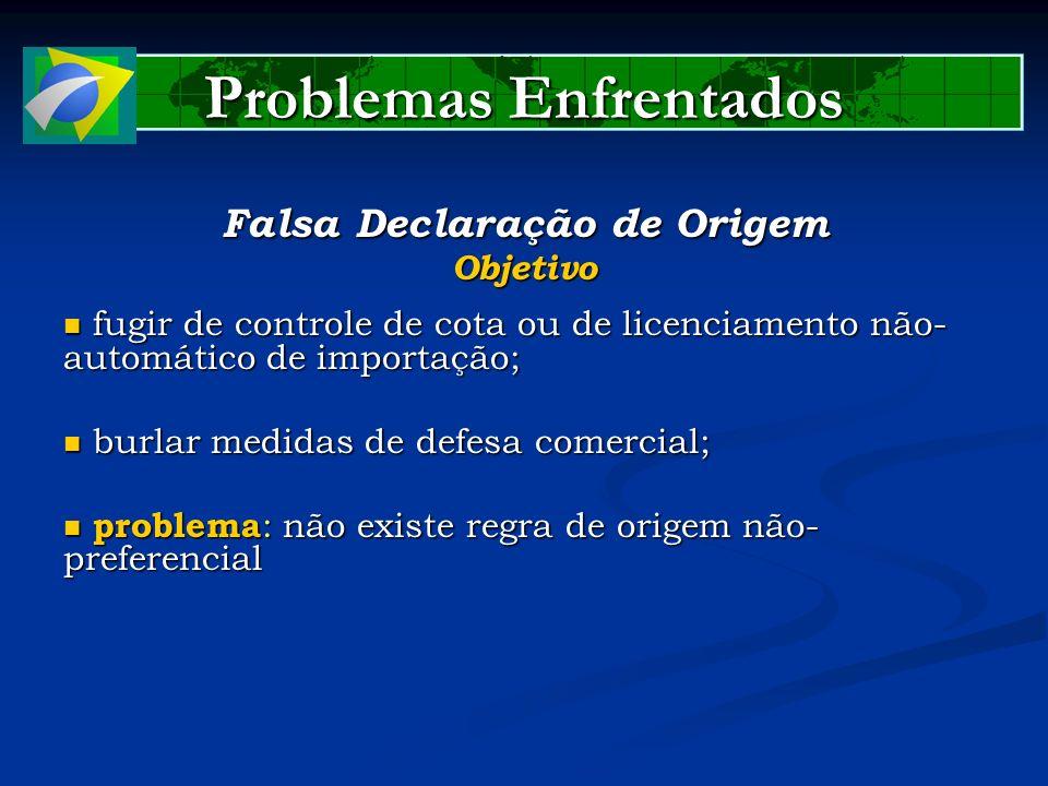 Problemas Enfrentados Falsa Declaração de Origem Objetivo fugir de controle de cota ou de licenciamento não- automático de importação; fugir de contro