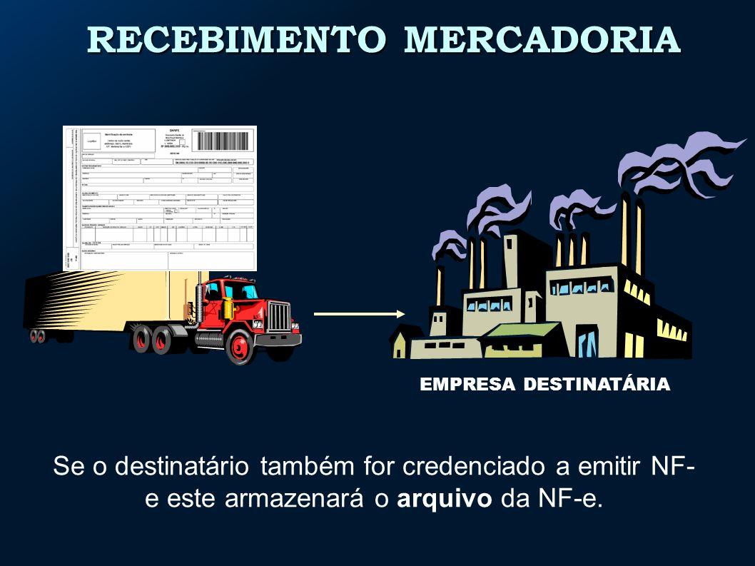 RECEBIMENTO MERCADORIA EMPRESA DESTINATÁRIA Se o destinatário também for credenciado a emitir NF- e este armazenará o arquivo da NF-e.