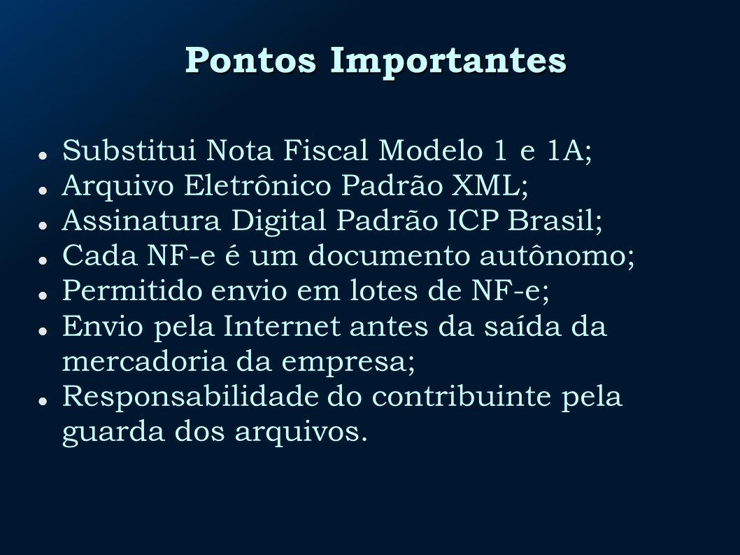Pontos Importantes Substitui Nota Fiscal Modelo 1 e 1A; Arquivo Eletrônico Padrão XML; Assinatura Digital Padrão ICP Brasil; Cada NF-e é um documento autônomo; Permitido envio em lotes de NF-e; Envio pela Internet antes da saída da mercadoria da empresa; Responsabilidade do contribuinte pela guarda dos arquivos.