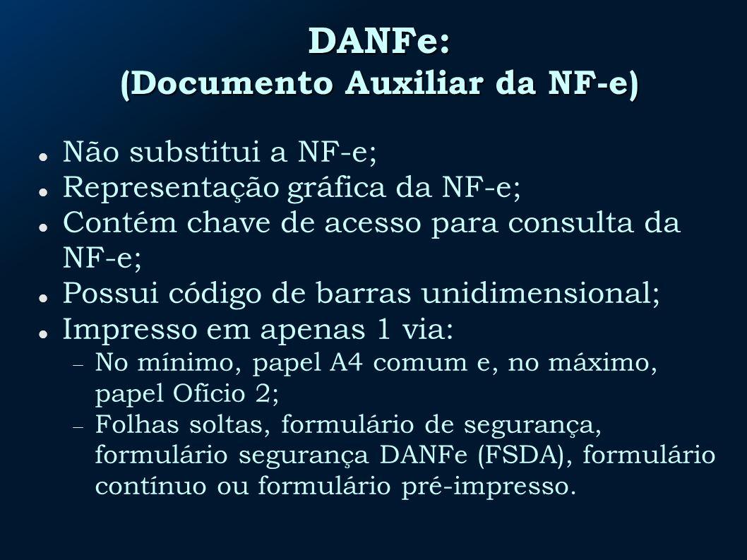 DANFe: (Documento Auxiliar da NF-e) Não substitui a NF-e; Representação gráfica da NF-e; Contém chave de acesso para consulta da NF-e; Possui código de barras unidimensional; Impresso em apenas 1 via: No mínimo, papel A4 comum e, no máximo, papel Ofício 2; Folhas soltas, formulário de segurança, formulário segurança DANFe (FSDA), formulário contínuo ou formulário pré-impresso.