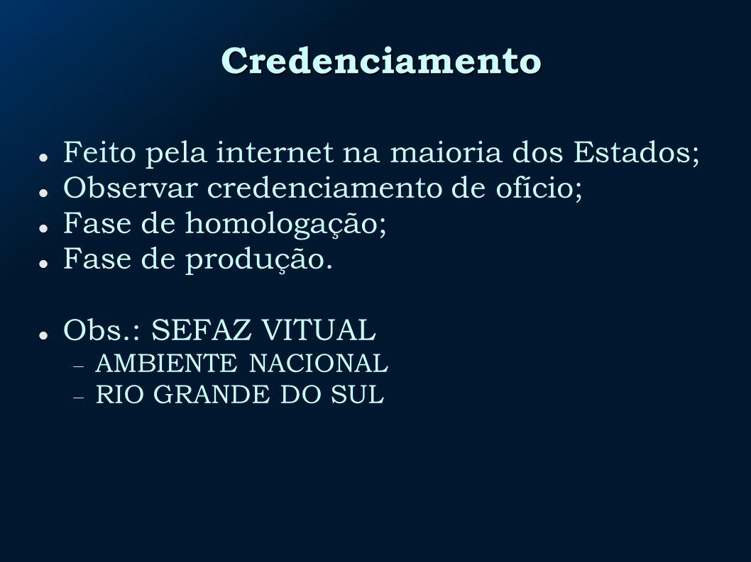 Credenciamento Feito pela internet na maioria dos Estados; Observar credenciamento de ofício; Fase de homologação; Fase de produção. Obs.: SEFAZ VITUA