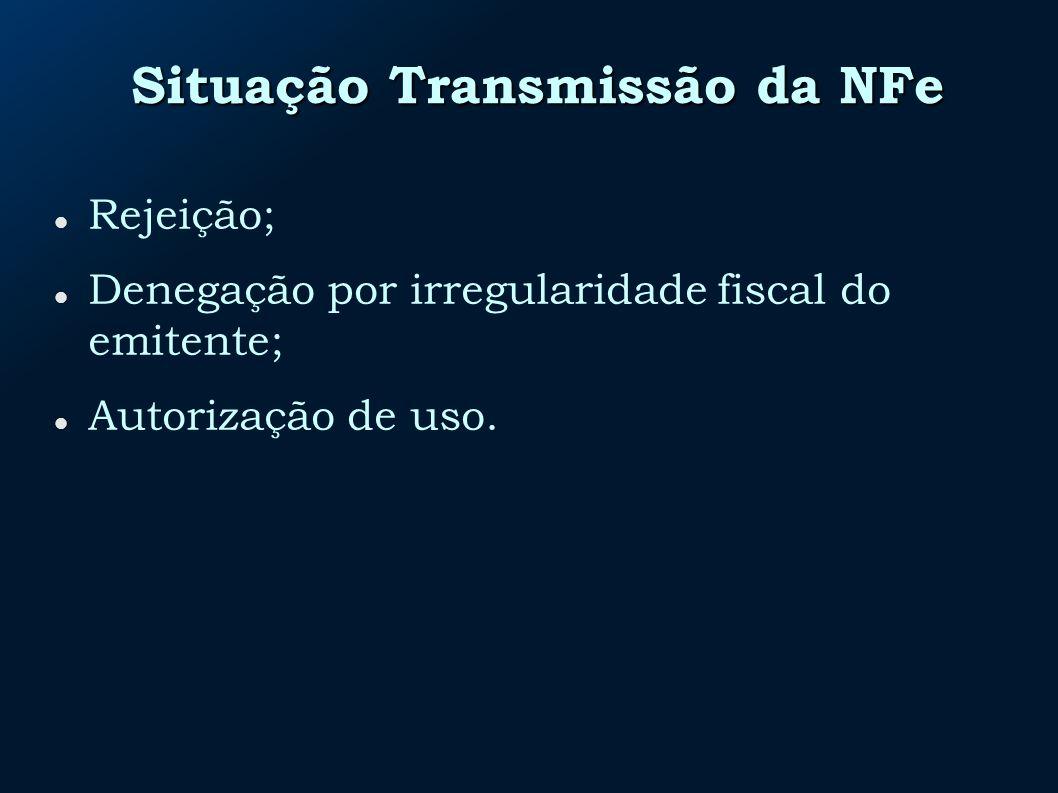 Situação Transmissão da NFe Rejeição; Denegação por irregularidade fiscal do emitente; Autorização de uso.