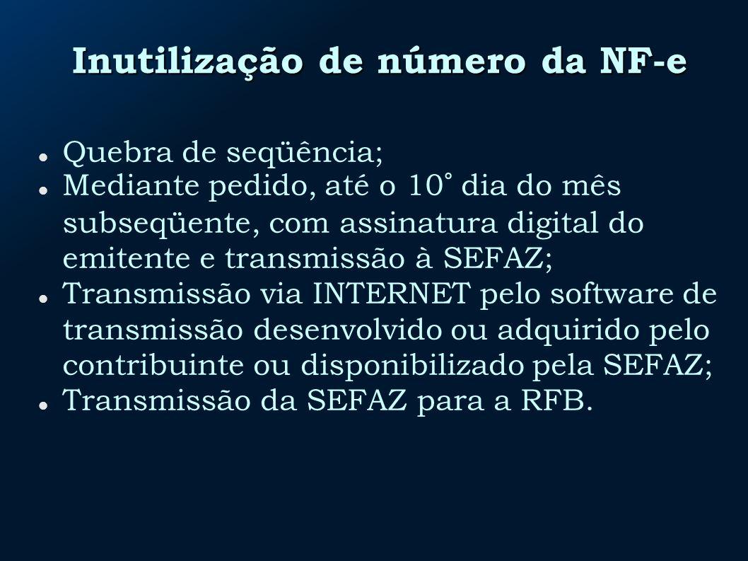 Inutilização de número da NF-e Quebra de seqüência; Mediante pedido, até o 10° dia do mês subseqüente, com assinatura digital do emitente e transmissã