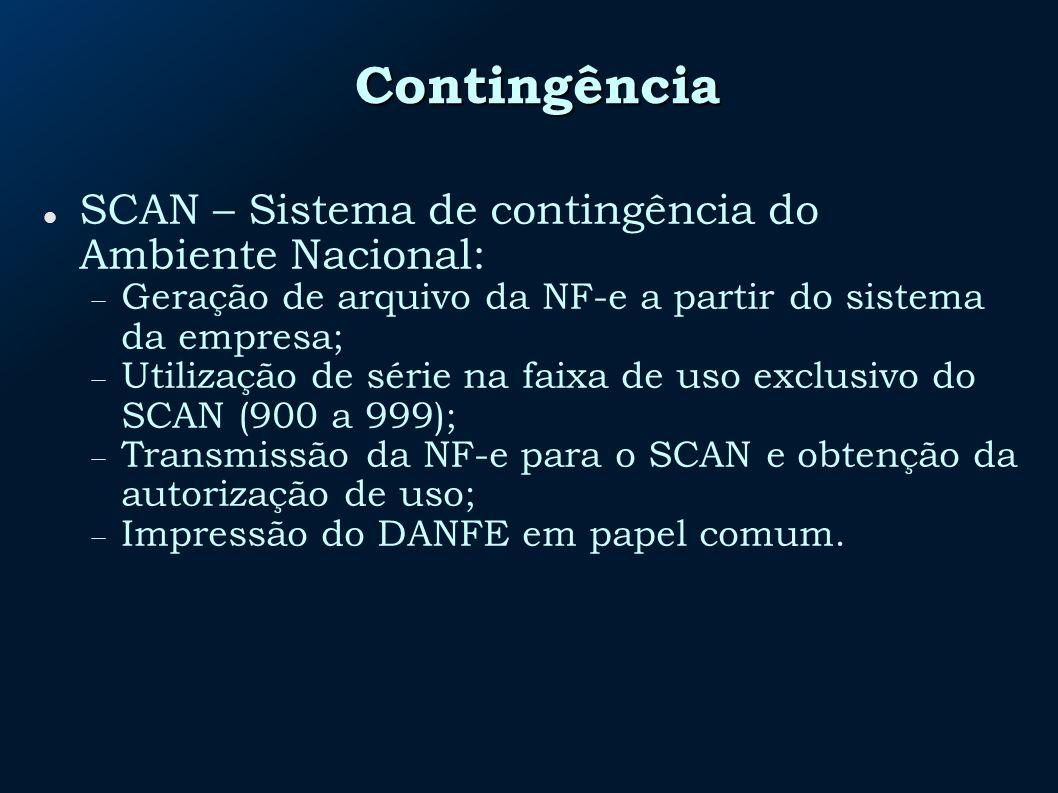 Contingência SCAN – Sistema de contingência do Ambiente Nacional: Geração de arquivo da NF-e a partir do sistema da empresa; Utilização de série na faixa de uso exclusivo do SCAN (900 a 999); Transmissão da NF-e para o SCAN e obtenção da autorização de uso; Impressão do DANFE em papel comum.