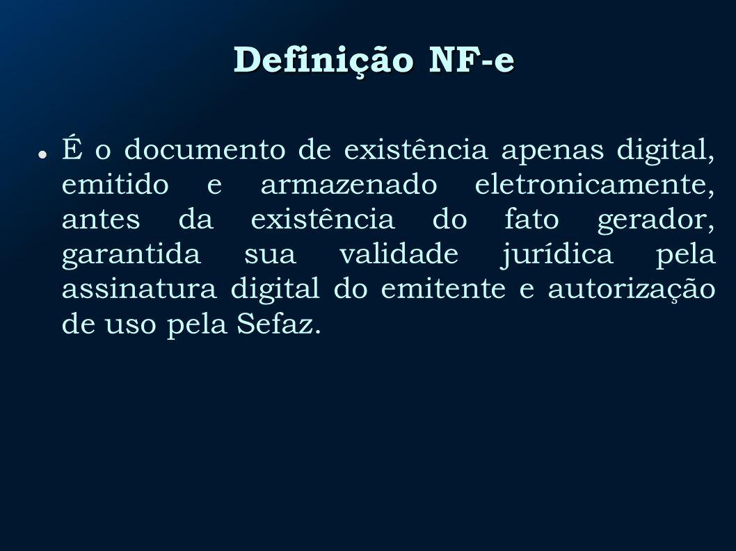 Definição NF-e É o documento de existência apenas digital, emitido e armazenado eletronicamente, antes da existência do fato gerador, garantida sua validade jurídica pela assinatura digital do emitente e autorização de uso pela Sefaz.