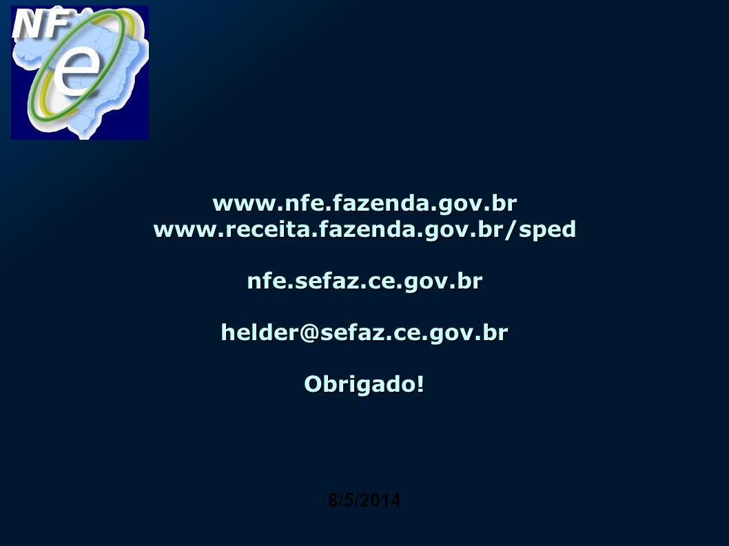 8/5/2014 www.nfe.fazenda.gov.br www.receita.fazenda.gov.br/sped nfe.sefaz.ce.gov.br helder@sefaz.ce.gov.br Obrigado!