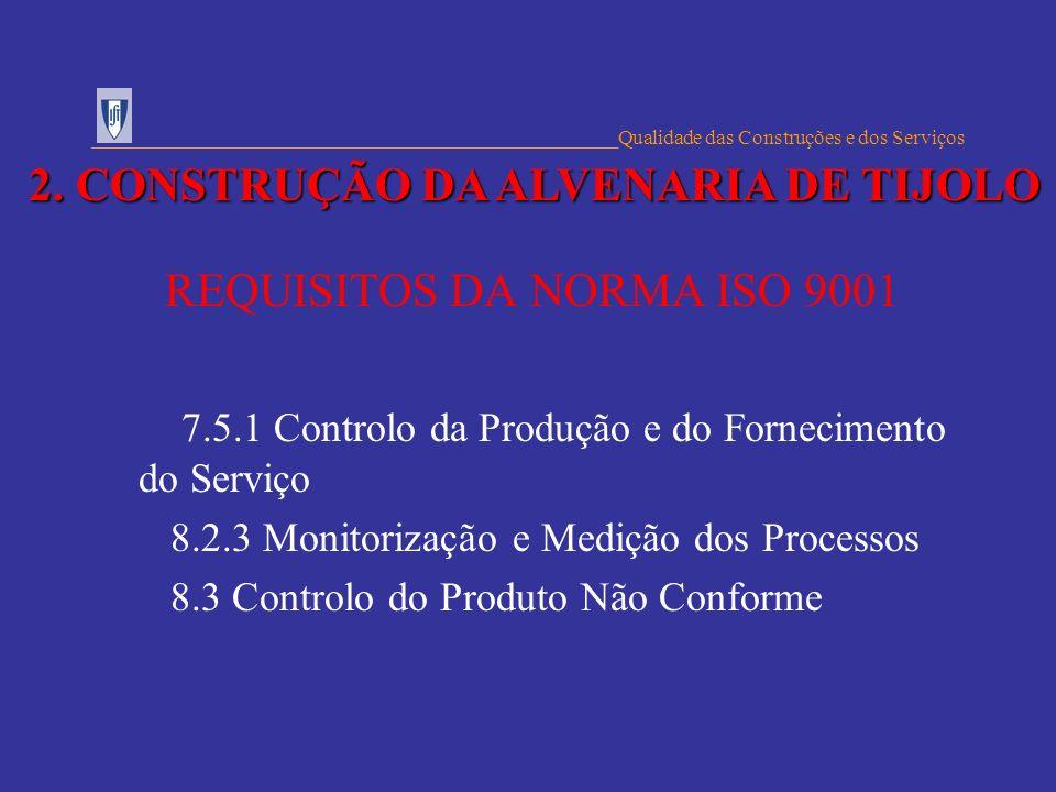 REQUISITOS DA NORMA ISO 9001 7.5.1 Controlo da Produção e do Fornecimento do Serviço 8.2.3 Monitorização e Medição dos Processos 8.3 Controlo do Produ
