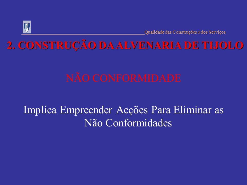 NÃO CONFORMIDADE Implica Empreender Acções Para Eliminar as Não Conformidades ___________________________________________________Qualidade das Constru