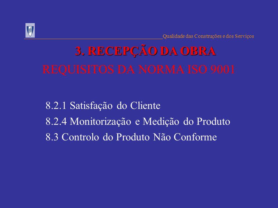 REQUISITOS DA NORMA ISO 9001 8.2.1 Satisfação do Cliente 8.2.4 Monitorização e Medição do Produto 8.3 Controlo do Produto Não Conforme _______________