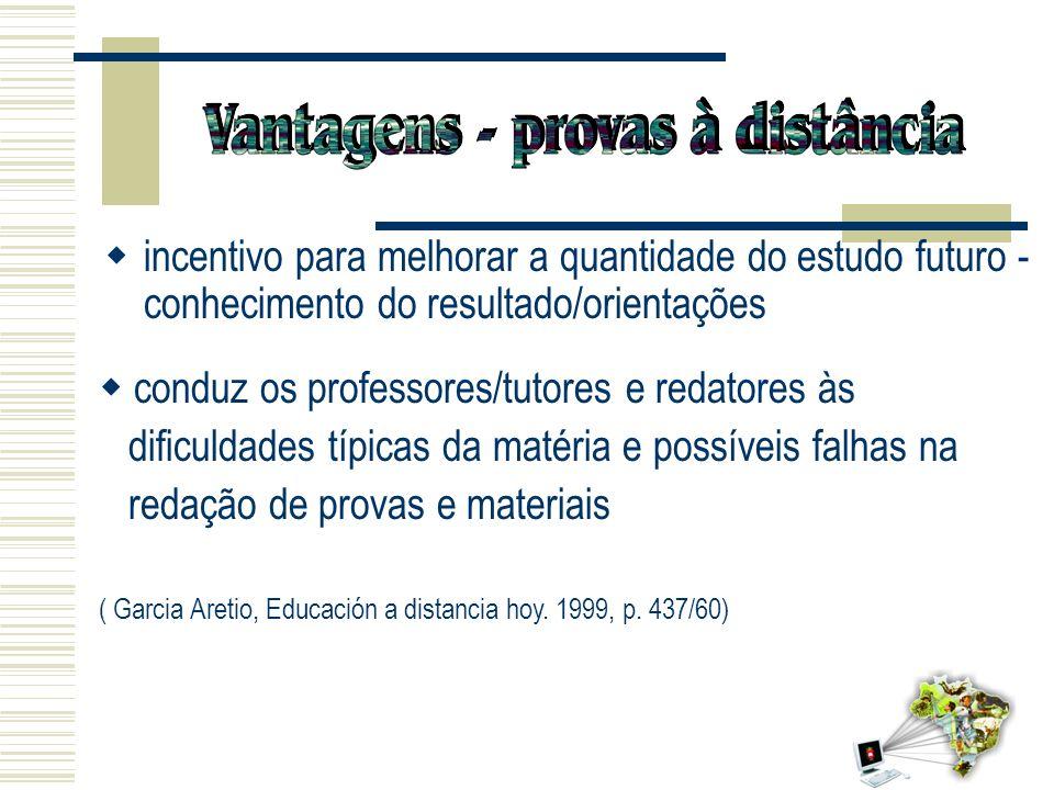 13 conduz os professores/tutores e redatores às dificuldades típicas da matéria e possíveis falhas na redação de provas e materiais ( Garcia Aretio, E