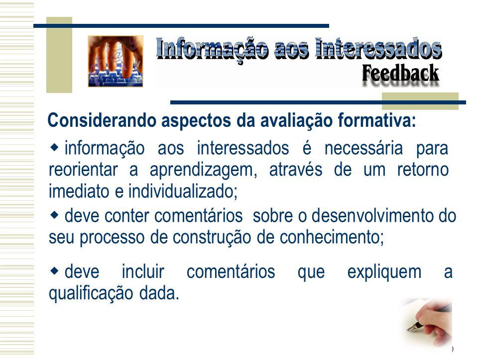 20 Considerando aspectos da avaliação formativa: informação aos interessados é necessária para reorientar a aprendizagem, através de um retorno imedia