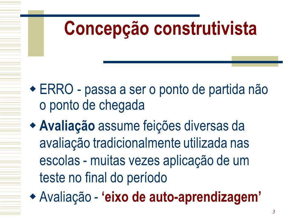 3 Concepção construtivista ERRO - passa a ser o ponto de partida não o ponto de chegada Avaliação assume feições diversas da avaliação tradicionalment