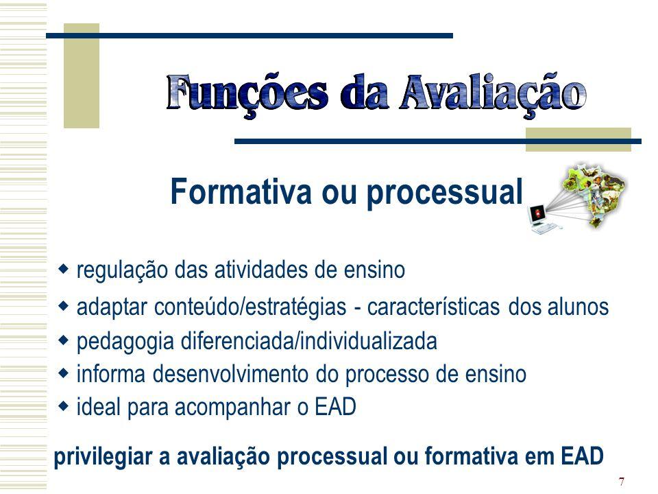 7 Formativa ou processual regulação das atividades de ensino adaptar conteúdo/estratégias - características dos alunos pedagogia diferenciada/individu