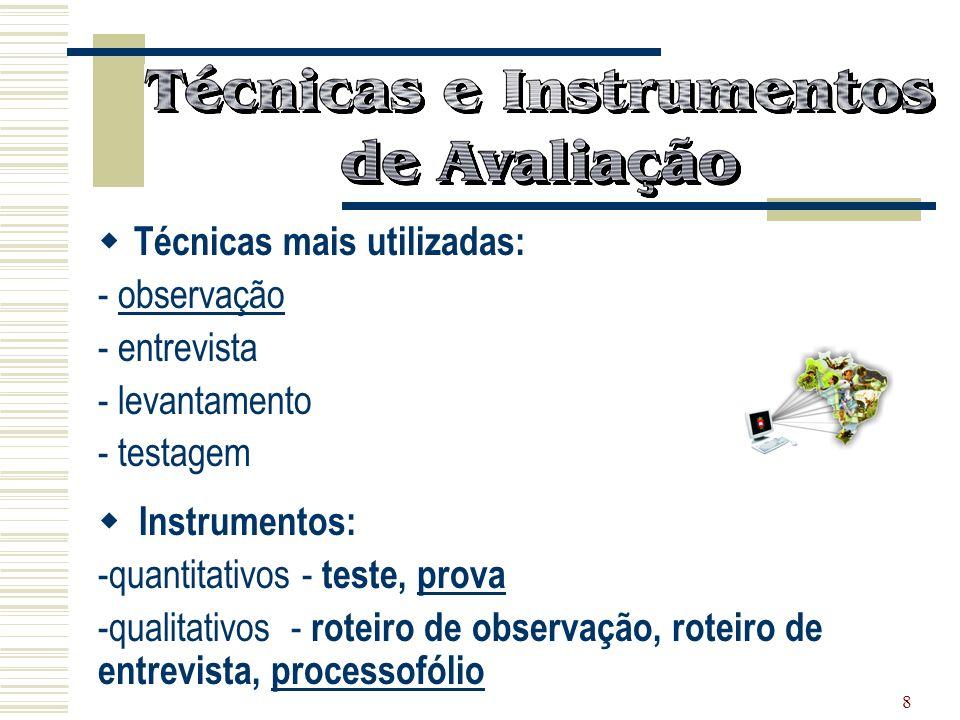 8 Técnicas mais utilizadas: - observação - entrevista - levantamento - testagem Instrumentos: -quantitativos - teste, prova -qualitativos - roteiro de