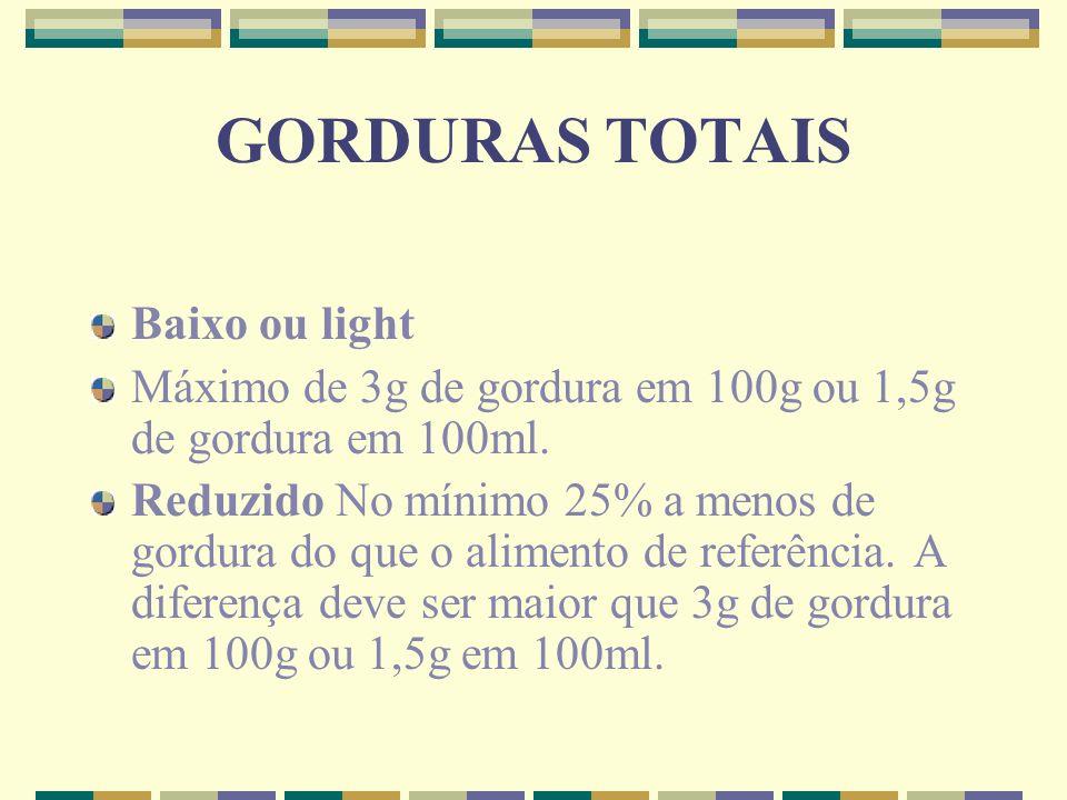 GORDURAS TOTAIS Baixo ou light Máximo de 3g de gordura em 100g ou 1,5g de gordura em 100ml. Reduzido No mínimo 25% a menos de gordura do que o aliment