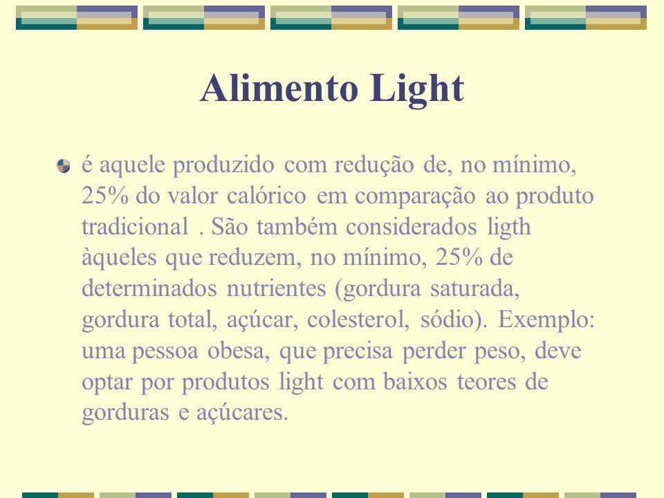 Alimento Light é aquele produzido com redução de, no mínimo, 25% do valor calórico em comparação ao produto tradicional. São também considerados ligth